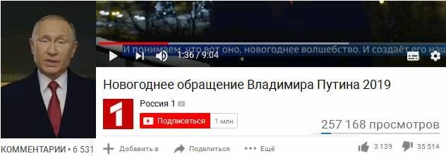 Дизлайк Путину 2019