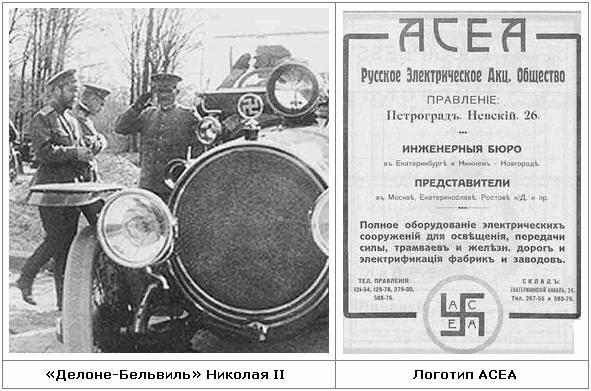 Фото: «Делоне-Бельвиль» Николая II и логотип АСЕА.